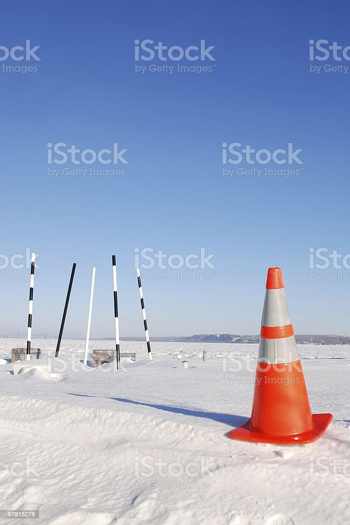 Traffic cone in a desert land royalty-free stock photo