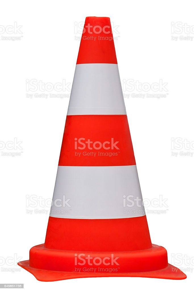 Traffic cone isolated on white background, clippig path stock photo