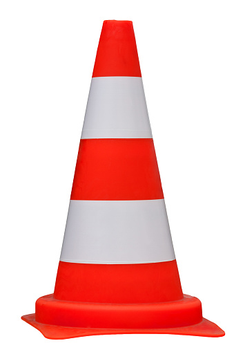 Traffic Cone Isolated On White Background Clippig Path Stock Photo - Download Image Now