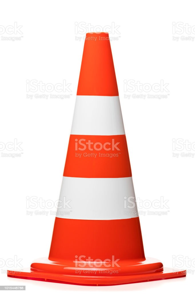 Traffic cone isolated on white background stock photo