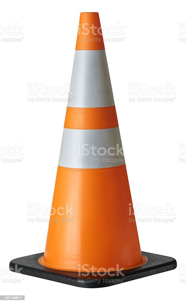 Traffic Cone, isolated on white royalty-free stock photo