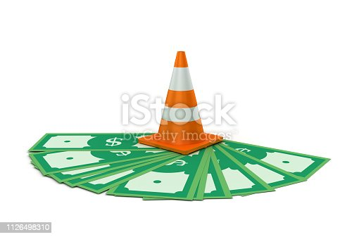 Traffic Cone on Dollar Bills - White Background - 3D rendering