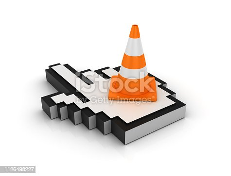 istock Traffic Cone on Hand Cursor - 3D rendering 1126498227