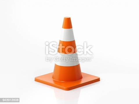 Orange colored traffic cone on white background. Horizontal composition with  copy space. Clipping path is included.