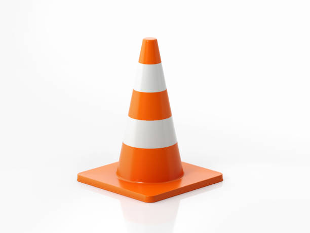 Traffic Cone On White Background stock photo