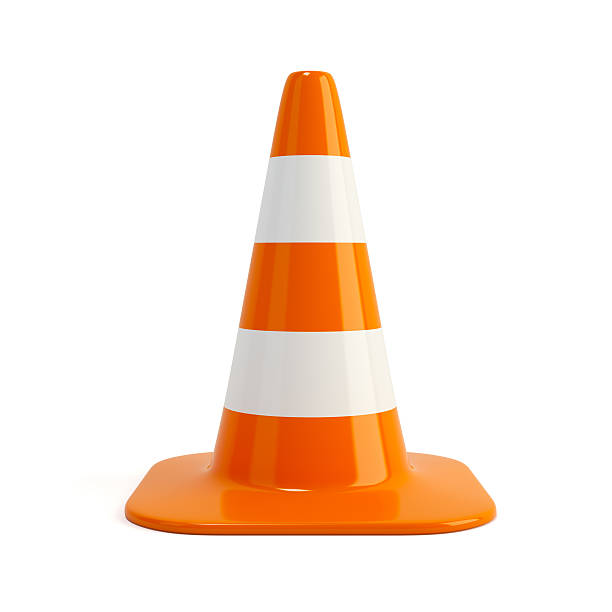 Traffic cone. Road sign isolated on white stock photo