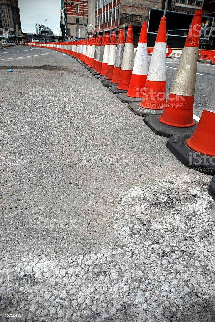 Traffic cone roadworks perspective royalty-free stock photo