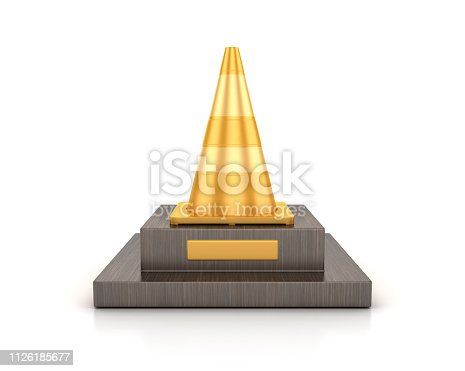 Traffic Cone Trophy - Blue Background - 3D rendering