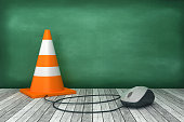 Traffic Cone with Computer Mouse on Chalkboard - 3D Rendering