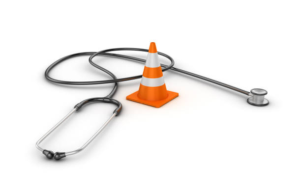 traffic cone with stethoscope - 3d rendering - under construction icon foto e immagini stock