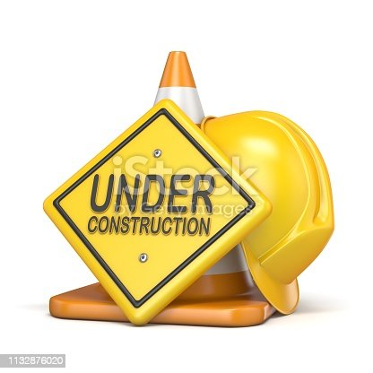 istock Traffic cone with UNDER CONSTRUCTION road sign 3D 1132876020