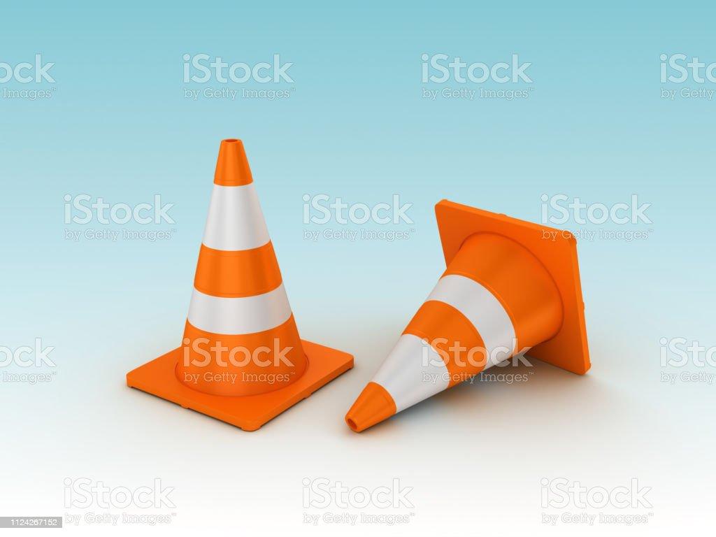 Traffic Cones - Blue Background - 3D rendering