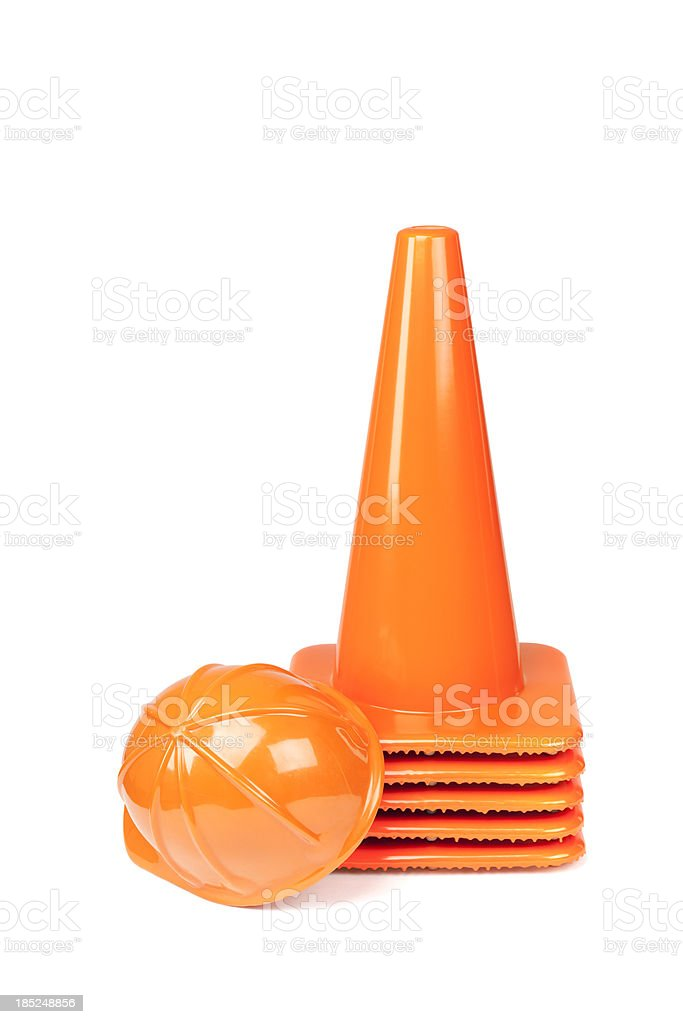 Traffic Cones and Hardhat royalty-free stock photo