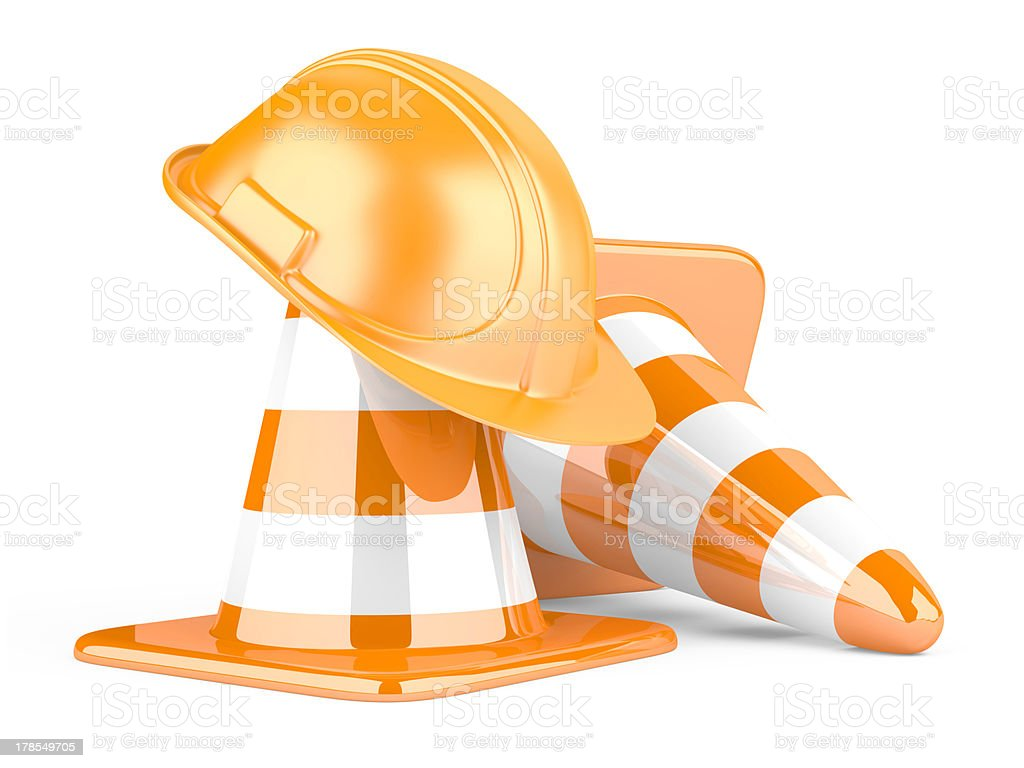 Traffic cones and helmet royalty-free stock photo