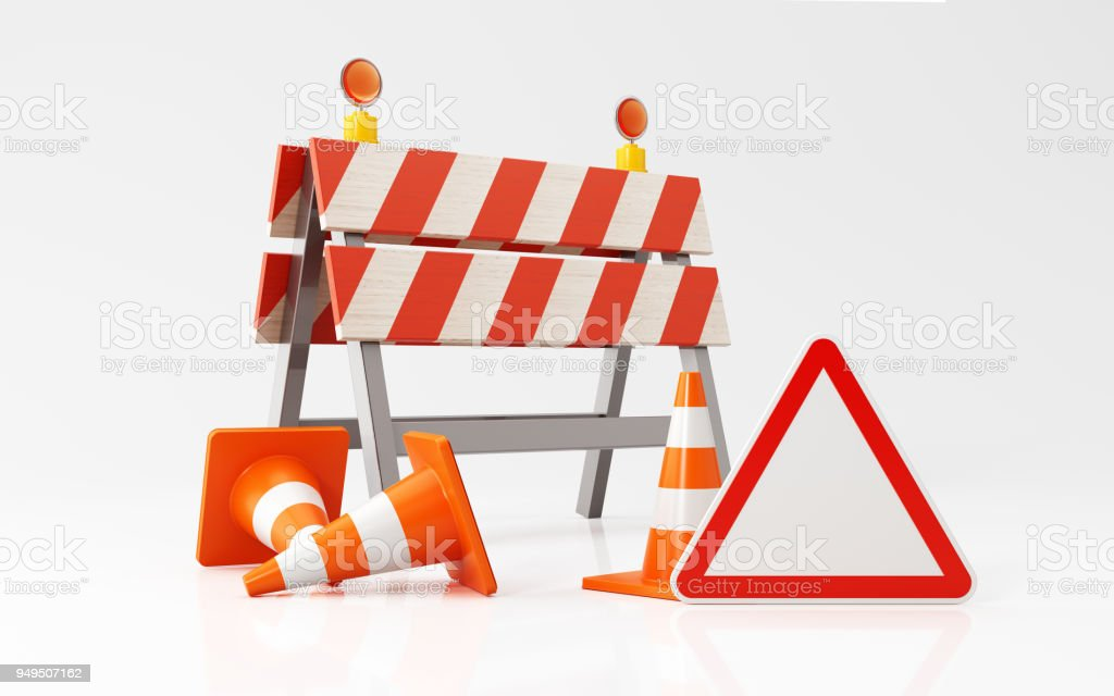 Traffic Cones Construction Barrier And A Red Triangle Shaped Road Sign On White Background stock photo