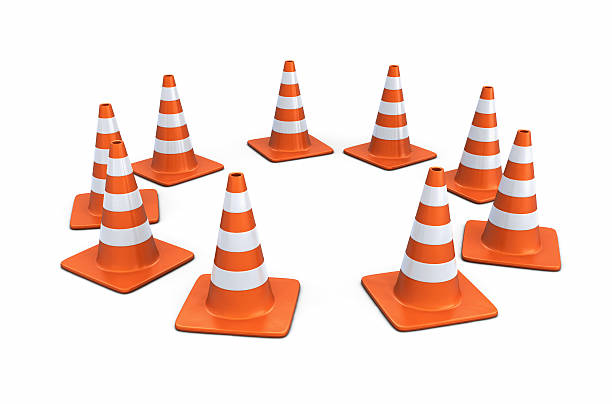 Traffic Cones in a Circle stock photo