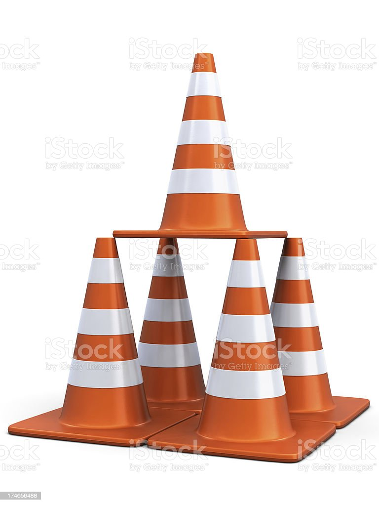 Traffic Cones in a Pyramid stock photo