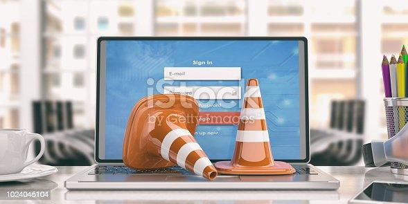 istock Traffic cones on a laptop, 3d illustration 1024045104