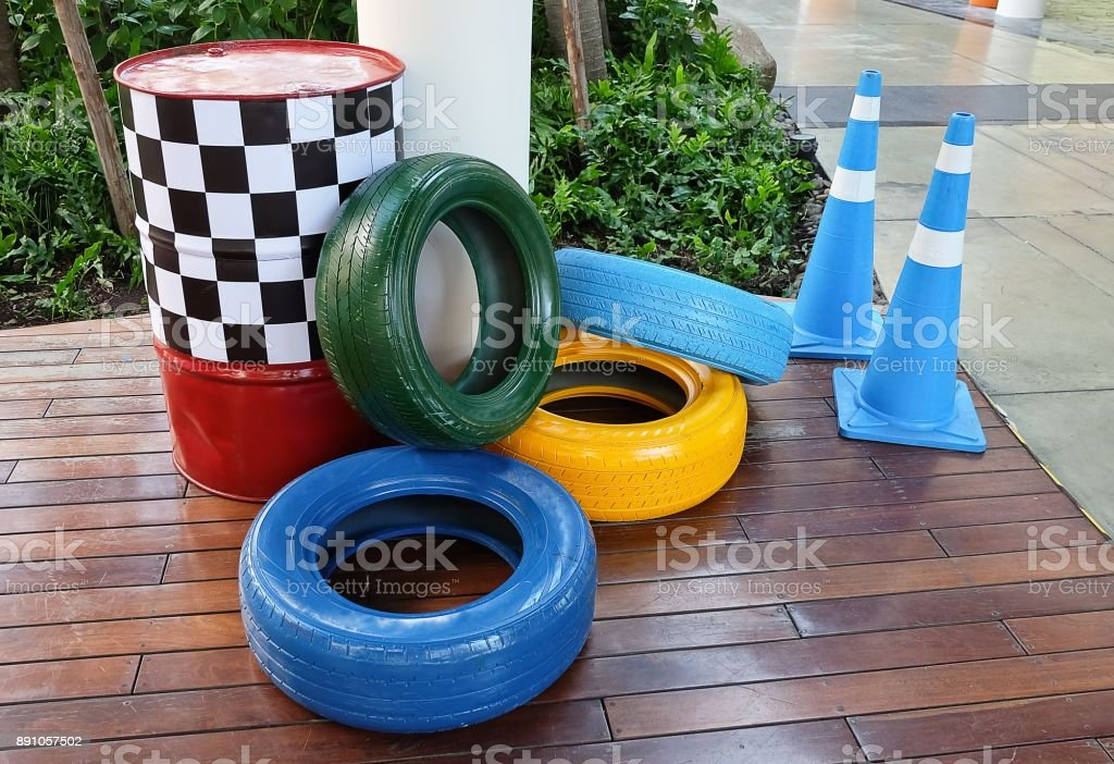 Traffic Cones with Painted Tires and Traffic Barrels stock photo