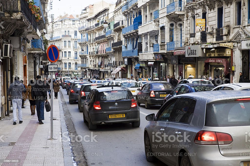 Traffic congested street in Algiers royalty-free stock photo