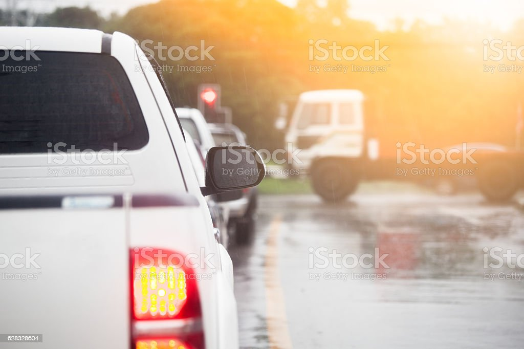 traffic congestion asia in dusk with rainy day stock photo