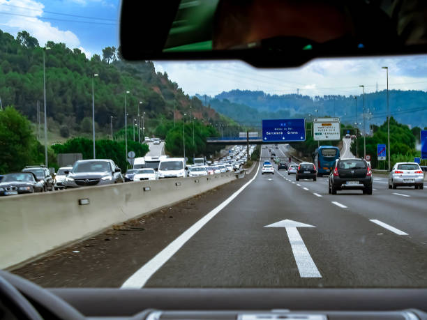 Traffic congestion on the exit from Barcelona on the A-2 highway in Spain stock photo