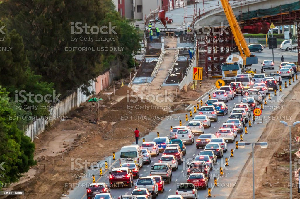 Traffic congestion with flyover construction royalty-free stock photo