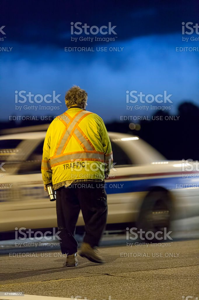 Traffic Control on the Centre Street Bridge in Calgary royalty-free stock photo