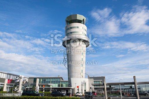 Christchurch, New Zealand - December 30, 2018. Traffic control tower at Christchurch Airport, Christchurch, New Zealand.