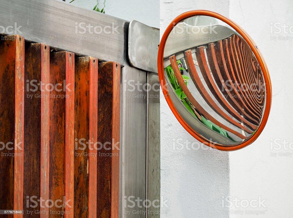 Traffic convex mirror stock photo