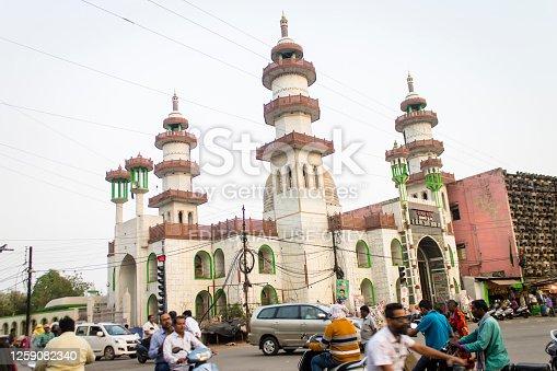 Raipur, India - March 08, 2020: Traffic Crossing at Dargah Sharif near Gol Bazar in Raipur.
