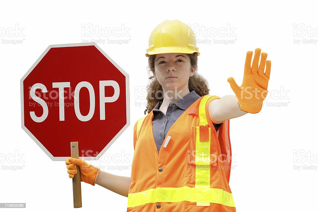 Traffic Directing Stop Isolated stock photo