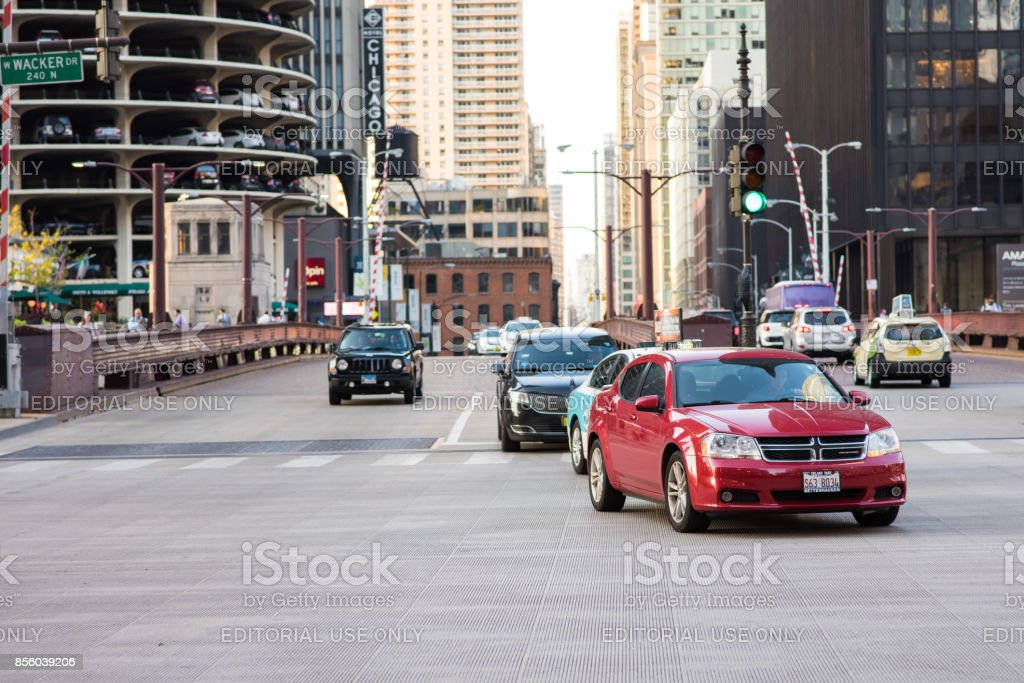 Traffic downtown Chicago stock photo