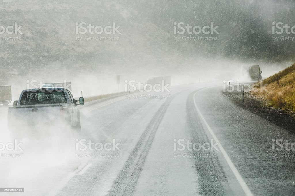 Traffic Driving In Winter Weather stock photo