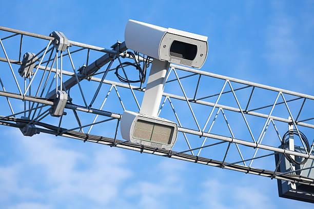 traffic enforcement camera close up photo - geschwindigkeitskontrolle stock-fotos und bilder