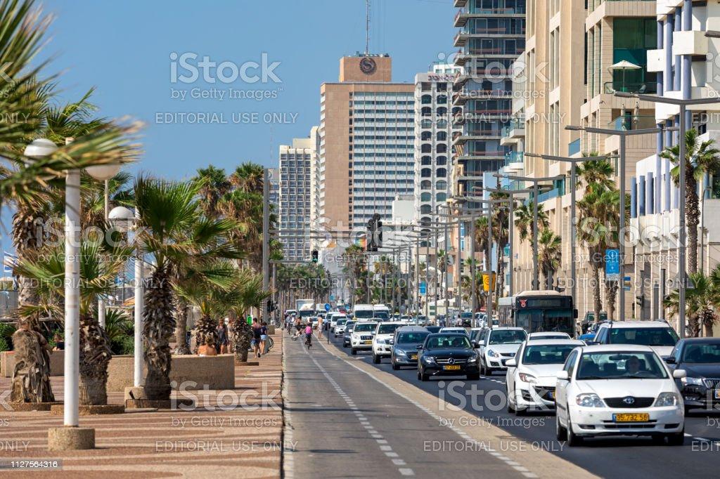 Traffic flow on the street of Tel Aviv, Israel. stock photo