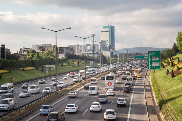 Traffic Flowing At Highway, Istanbul, Turkey stock photo