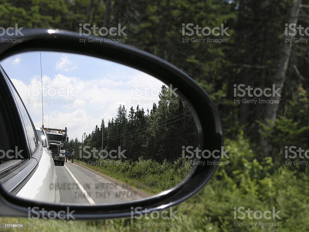 Traffic has stopped - view from mirror royalty-free stock photo