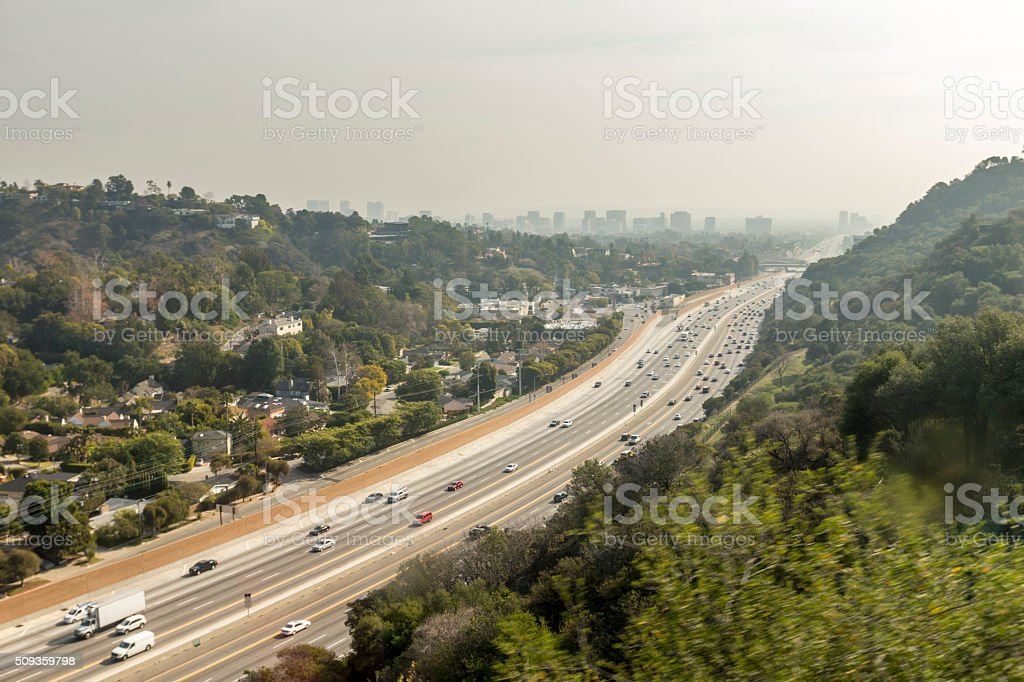 Traffic heading into Downtown Los Angeles stock photo
