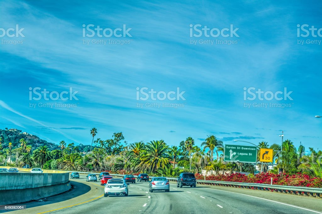 Traffic in 101 freeway northbound stock photo