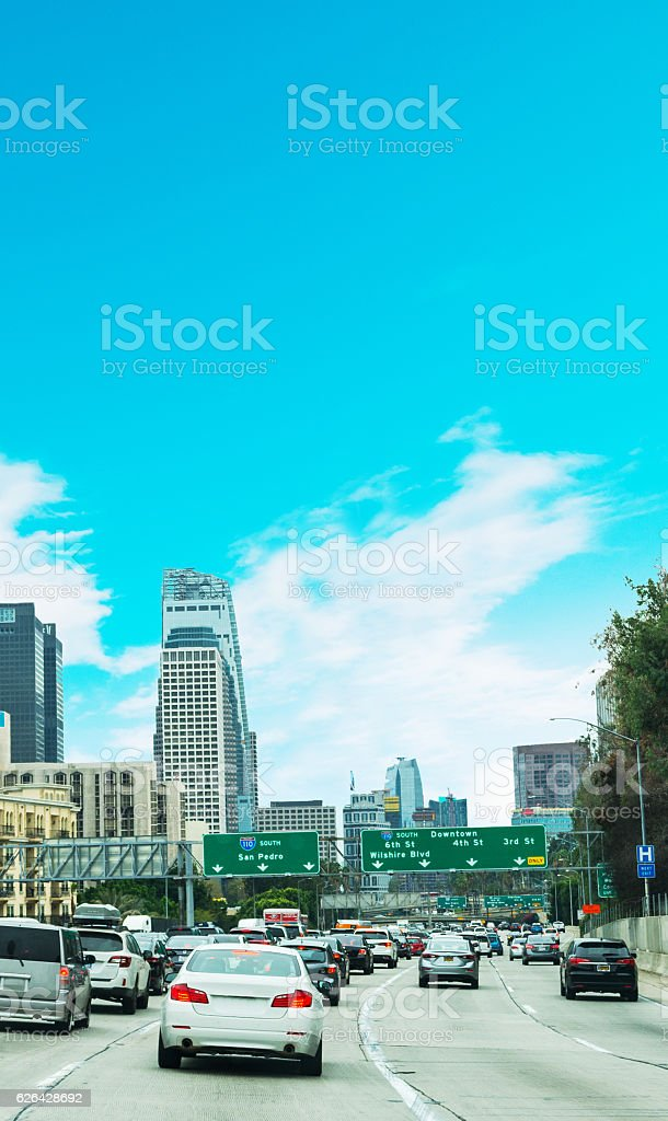 Traffic in 110 freeway in Los Angeles stock photo