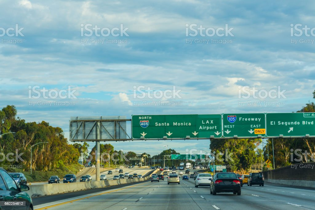 Traffic in 405 freeway northbound stock photo