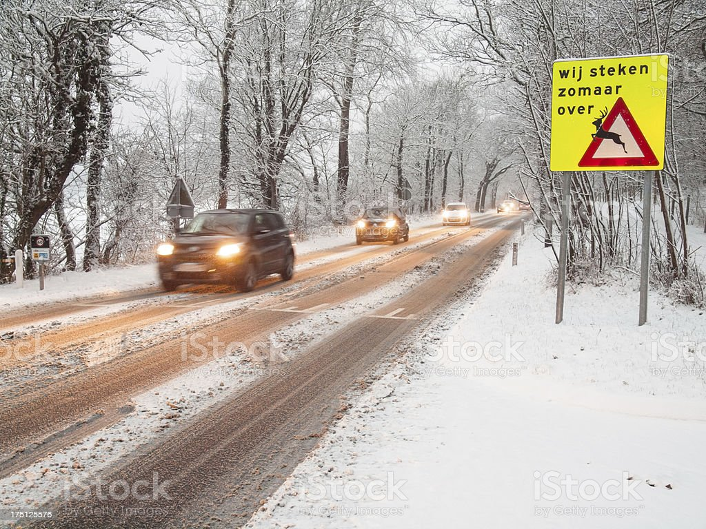 traffic in a snow storm stock photo
