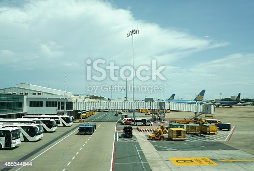 Bangkok, Thailand - July 2, 2015: Some vehicles running inside Don Muang International Airport. Don Muang is a regional commuter flight hub in Bangkok, Thailand.
