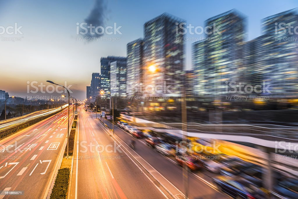traffic in beijing at night royalty-free stock photo