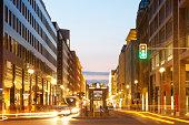 light trails on Berlin street, Germany,