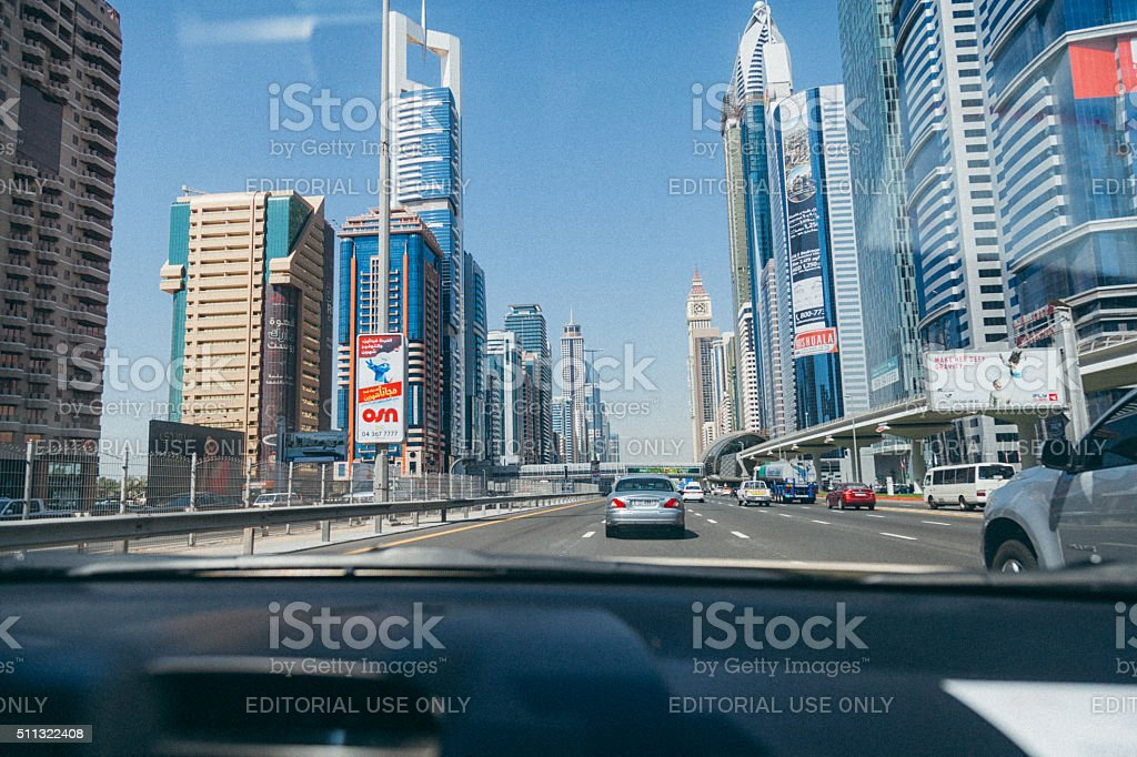 Traffic in Business Bay in Dubai, UAE stock photo
