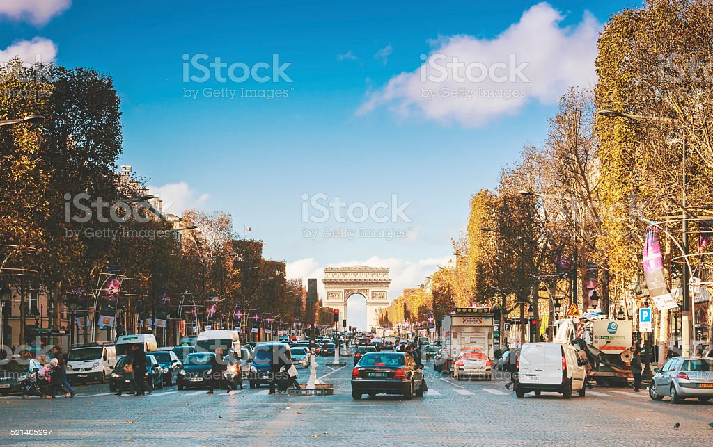 Traffic in Champs Elysees Street stock photo