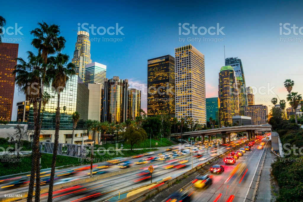 Traffic in downtown Los Angeles, California stock photo
