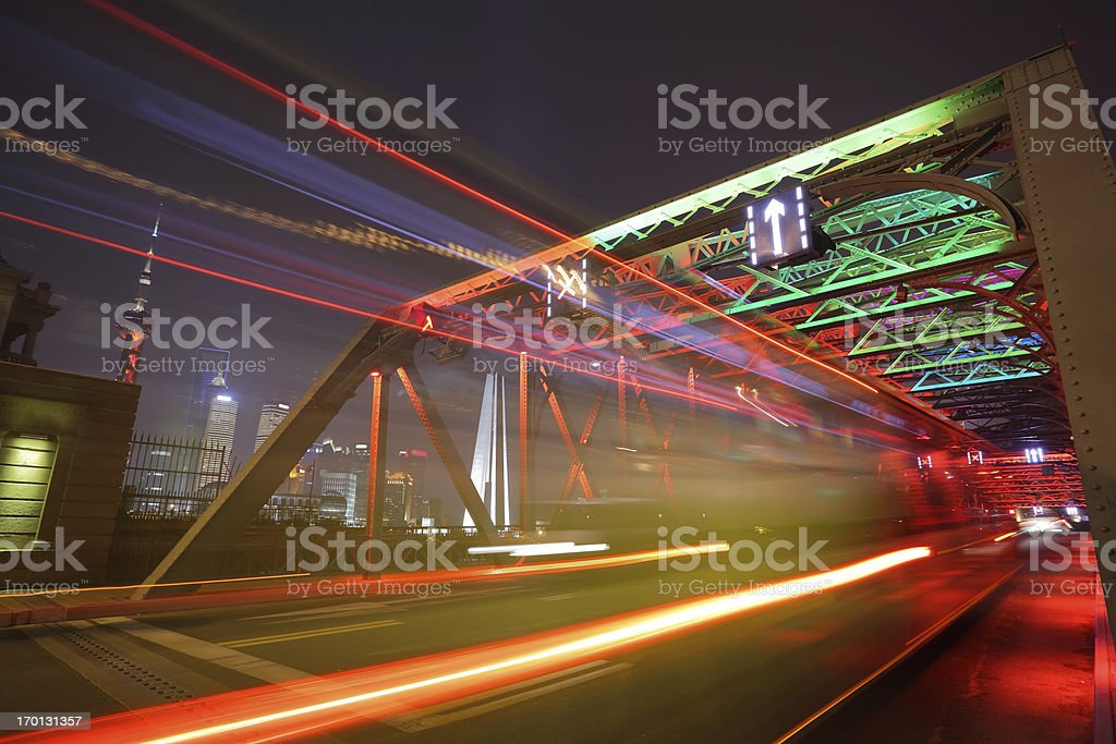 traffic in downtown Shanghai China royalty-free stock photo